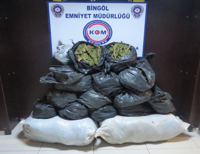 Bingöl'de 105 kilo ot esrar ele geçirildi