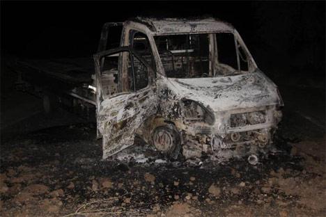 Genç-Diyarbakır karayolunda 1 araç yakıldı