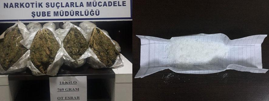 Lice'den getirilen 59 kilo 100 gram toz esrar ele geçirildi