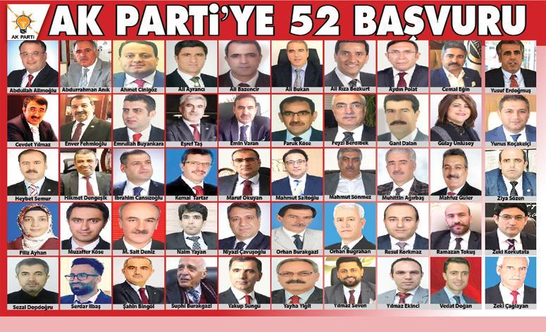 AK PARTi'YE 52 BAŞVURU