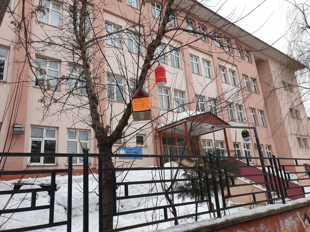 Genç'te öğrenciler kuş evi yaptı